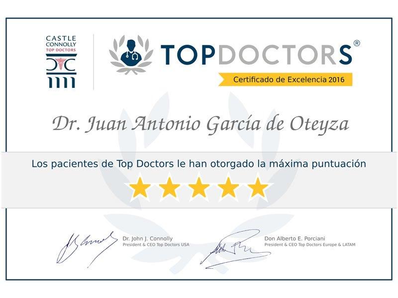 El Dr. Juan García de Oteyza  recibe el Certificado de Excelencia de TopDoctors